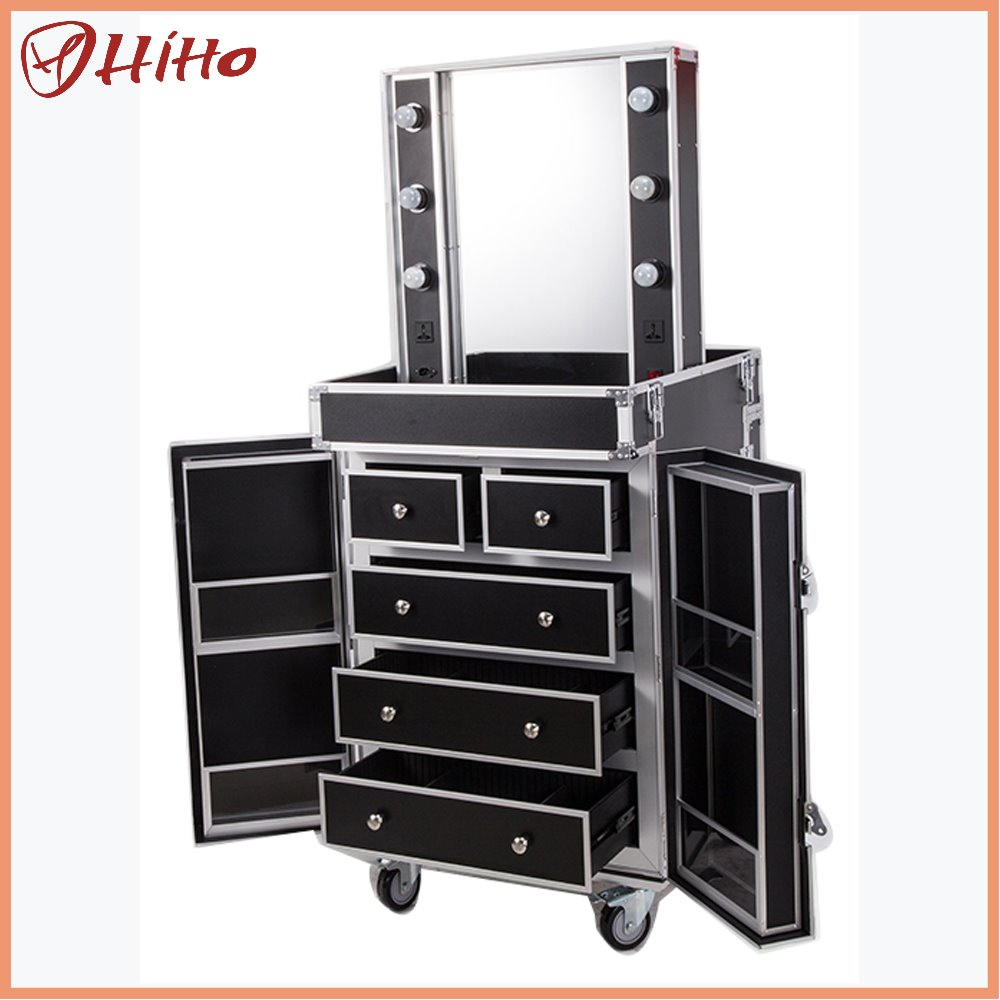 Large Professional Aluminum Makeup Case With Lighted Mirror