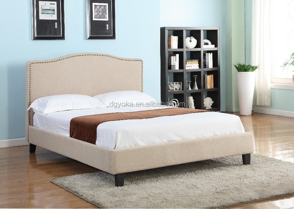 391 fancy modern bedroom furniture artificial faux leather or fabric wing day platform bed with tufted fabric bedstead