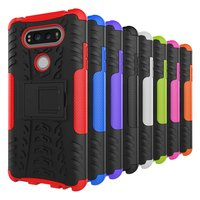 Soft Silicone Hard PC Hybrid Heavy Duty Kickstand Armor Cell Phone Case For LG V20