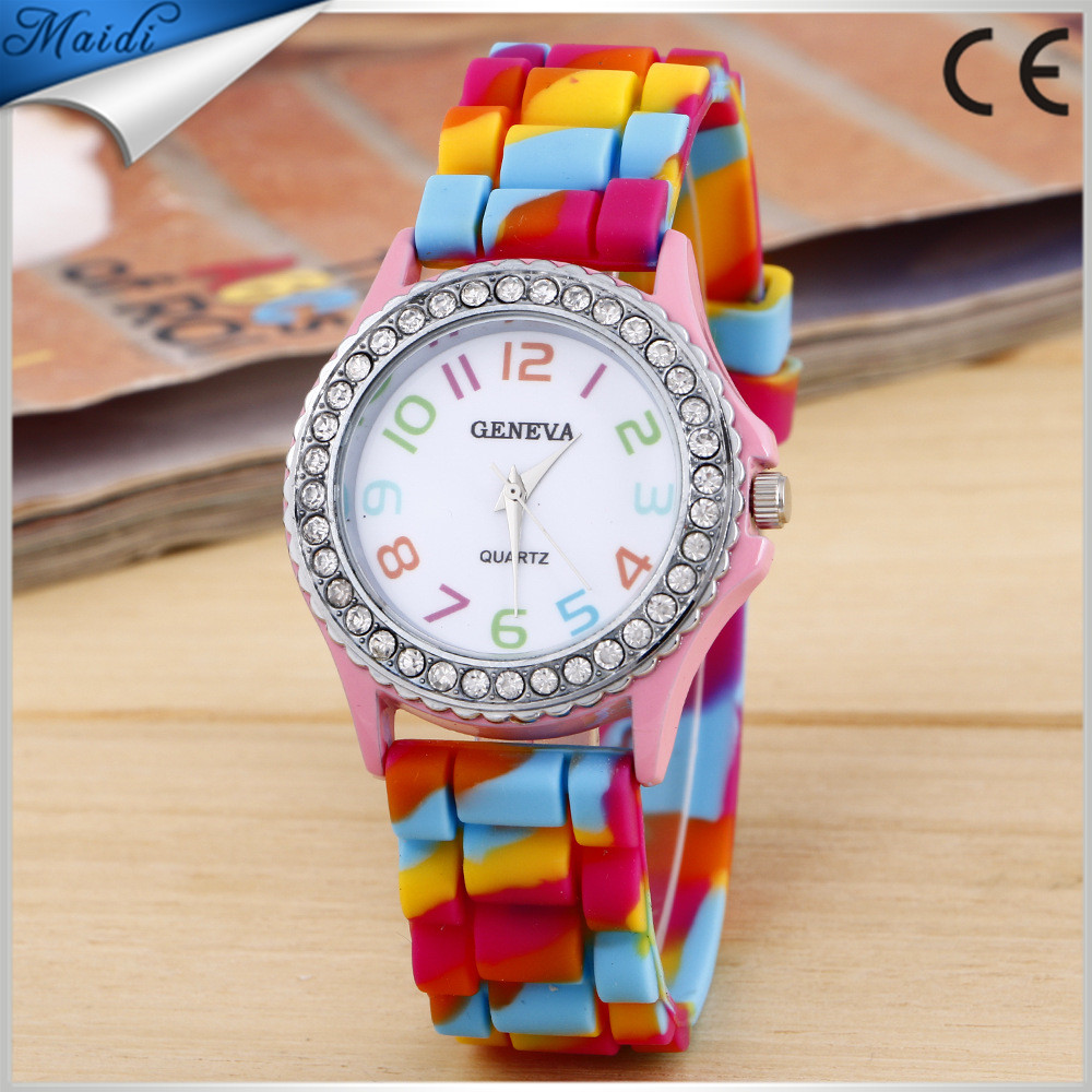 New Girls Ladies Geneva Rainbow Crystal Rhinestone Watch Silicone Jelly Link Band Watch for Women GW017