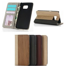 Retro Wood Texture Wallet PU Flip Leather stand case For Samsung Galaxy S7 Edge with photo frame