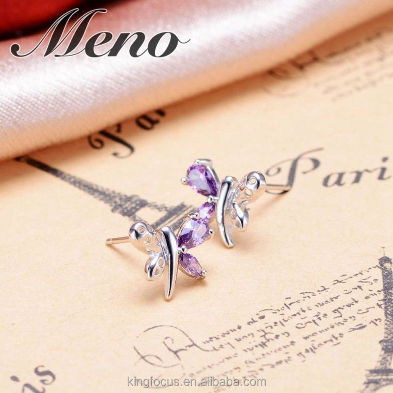 Meno s925 silver CZ butterfly stud Korean style fashion lady all-match setting gift
