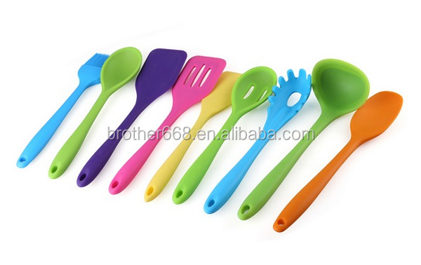 FDA silicone/nylon kitchen utensils set/ easy wash/portable/silicone kitchenware