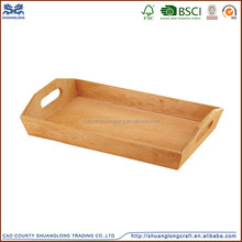 Shuanglong factory supplier custom logo and color creative unique design solid wooden service tray