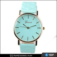 japan quartz geneva brand watch leather quilt, fashion ladies fancy watches
