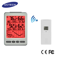 2017 hot sale Silver temperature and humidity display Weather forecast icons lcd clock large color wireless weather station