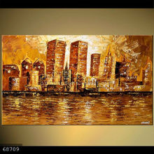 Handmade Modern Palette Knife cityscape Oil Painting on canvas, NEW YORK