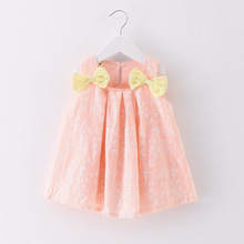 Cute pink double bow fluffy doll baby <strong>dress</strong> girls clothing baby clothes infant <strong>party</strong> <strong>dresses</strong>