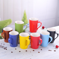 12oz Flat Bottom 8 Colored Porcelain Coffee Mugs for Lead Free