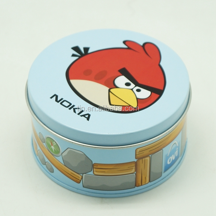 Custom metal round tin boxes for candy watch USB storage