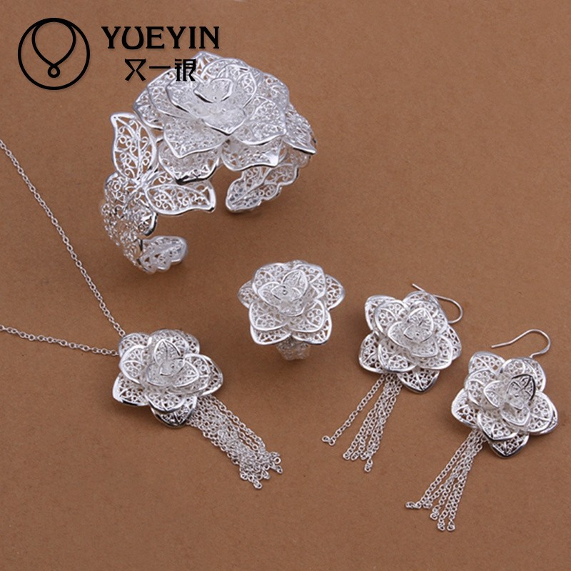 Muliti-layer delicate hollow flower silver jewelry <strong>accessories</strong>