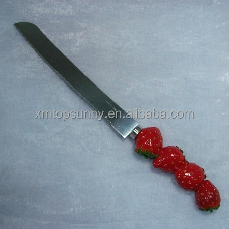 stainless steel knife for bread with resin handle decor