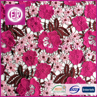 2015 wholesale multi color heavy 3d swiss african lace fabrics , chemical guipure lace fabric , cupion nigerian cord lace fabric