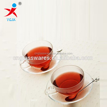 100ml crystal glass coffee cup set with cup and saucer