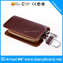 Fashion Handmade Leather Car Keychain Key Holder Bag Wallet Cover/Key Hook Zipper Case with Card Holder