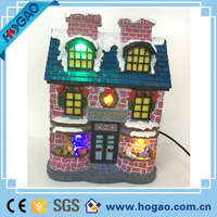 Large size lights custom led christmas village houses resin house