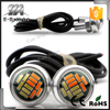 23mm 4014 12smd eagle eyes headlights white amber double colors switch daytime running light led drl fog light