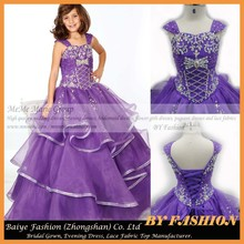 Designs for kids evening gown Children Party Dress Pruple Organza and Rhinestones Girls Pageant Dress Designs Kids Evening Gowns