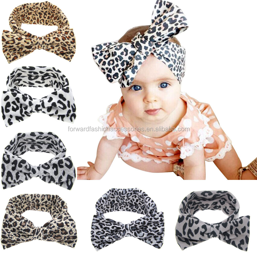 Fancy Kids Big Bowknot Leopard Stretch Soft Textile <strong>Headbands</strong>