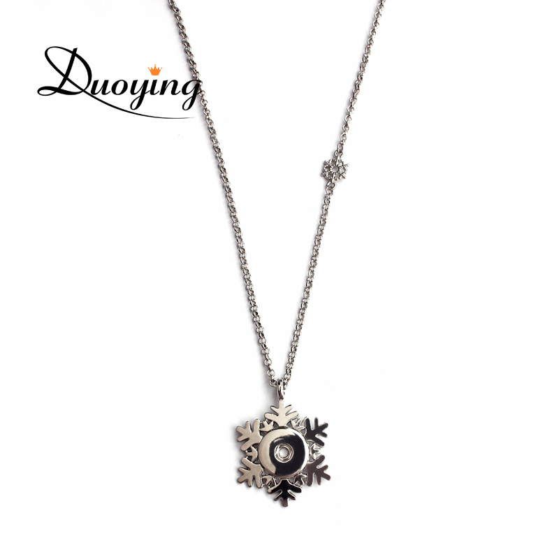 Snowflake Snap Button Pendant Necklace Ginger Snap Button Jewelry Necklace
