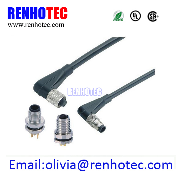 4 PIN M5 Female Connector A Coding Molded Cable