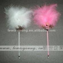 White and Pink fluffy ball pen for girl, beautiful gift item for women