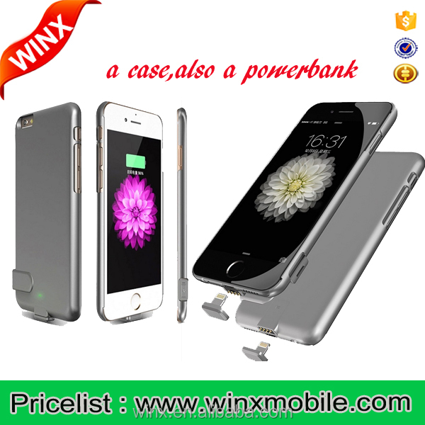 WINX Ultra-thin Original Pink 1500/2000mAh Wireless Portable Back Clip Battery Charger For iPhone Power Bank Case Phone Holder