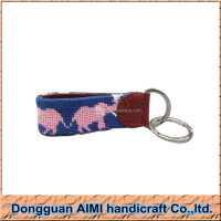 AIMI Black Lab Labrador Retriever Dog Needlepoint Key Fob Ring