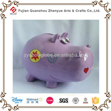 Custom design Animal Resin Coin bank,Cute Hippo Money saving box