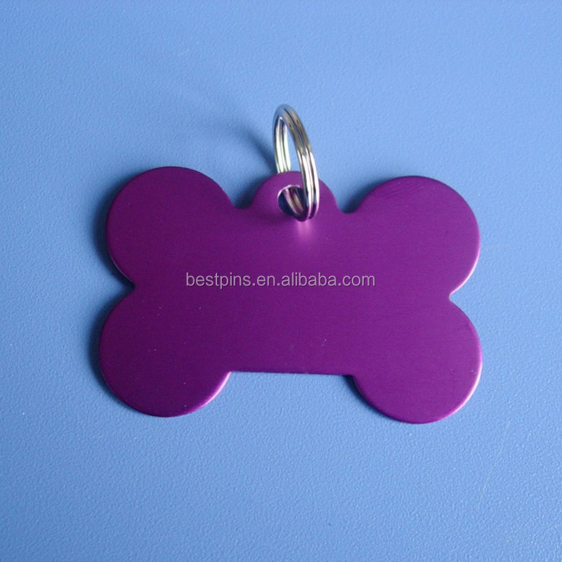 ALUMINUM ANODE PURPLE BONE DESIGN PET TAGS DOG CAT NAME CHARM TAGS WITH SPLIT RING