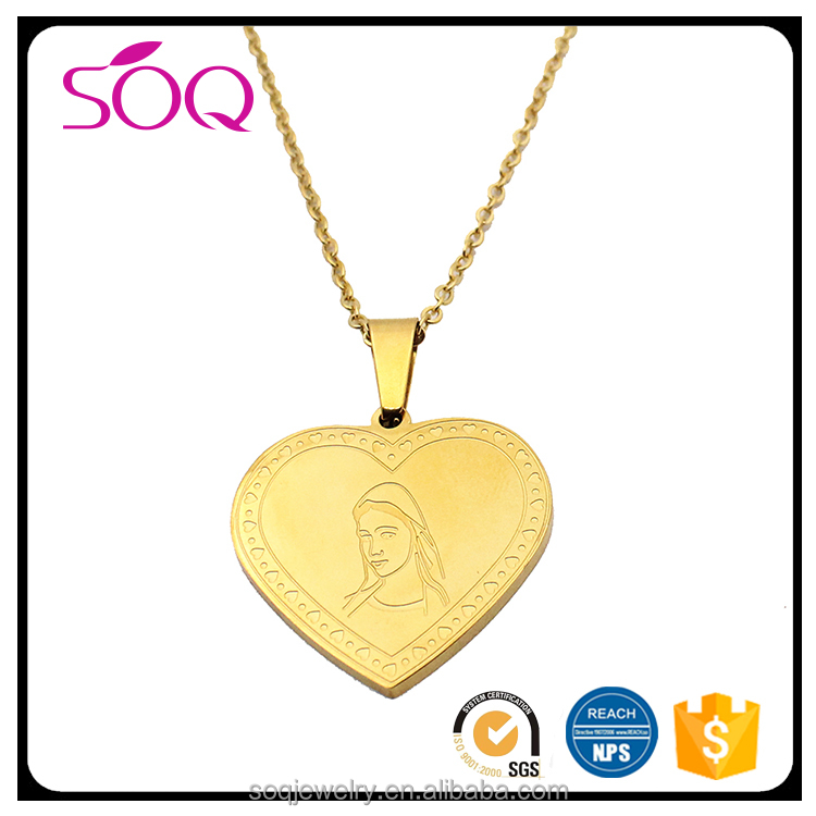 Carve smile girl picture with gold plated heart shape stainless steel pendant
