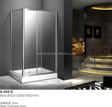 square shaped fiberglass shower enclosure cubicle with frame aluminum for home