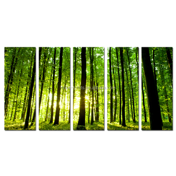 2016 Natural Forest Canvas Printing 5 Panel Green Tree Picture Wall Art