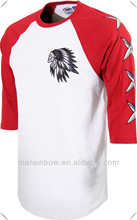 graphic raglan 3/4 Sleeve T-Shirt made by100% cotton with screen print at left chest and arm
