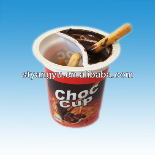 Hot chocolate cup with biscuit stick