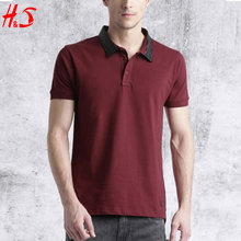 2018 Wholesale The New Design High Quality Men T-shirts Wine Red Solid Polo leather Collar T-shirt