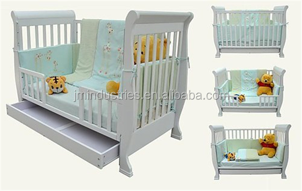 white colour solid wood baby crib,pine wood