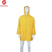 cheap custom men PVC/Polyester pvc plastic heavy duty custom raincoat ,rainwear RC003