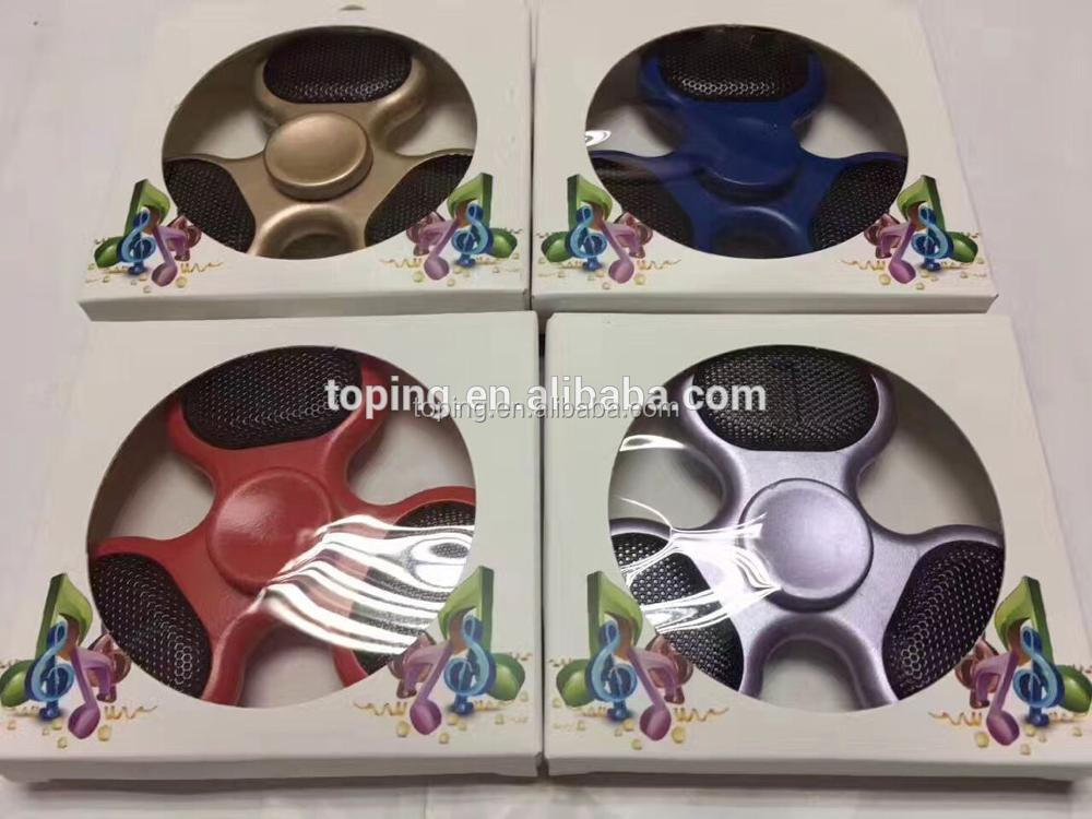 Newest product! LED bluetooth speaker fidget hand spinner music player tri finger spinner toy