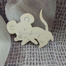 8*8 cm Laser engraving wooden mouse chirstmas ornament