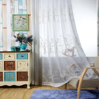 Bamboo Modern Design New Products 100% Polyester Sheer Embroidery Curtain Fabric