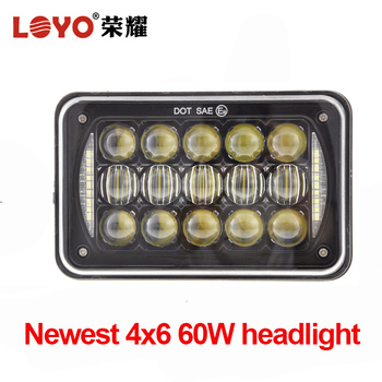 New item! square 5 inch h/l beam 4x6 inch led headlight for truck jeep auxiliary lamp
