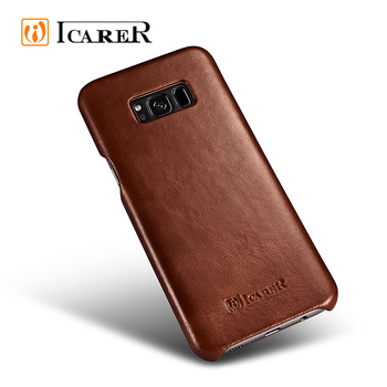 Curved Edge Genuine Cowhide Leather Phone Case for Samsung S8