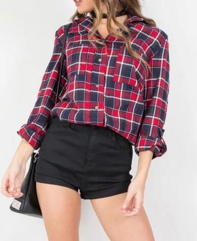 EY2037B New Woman Casual Plaid Flannel Long Sleeve Shirt Blouse