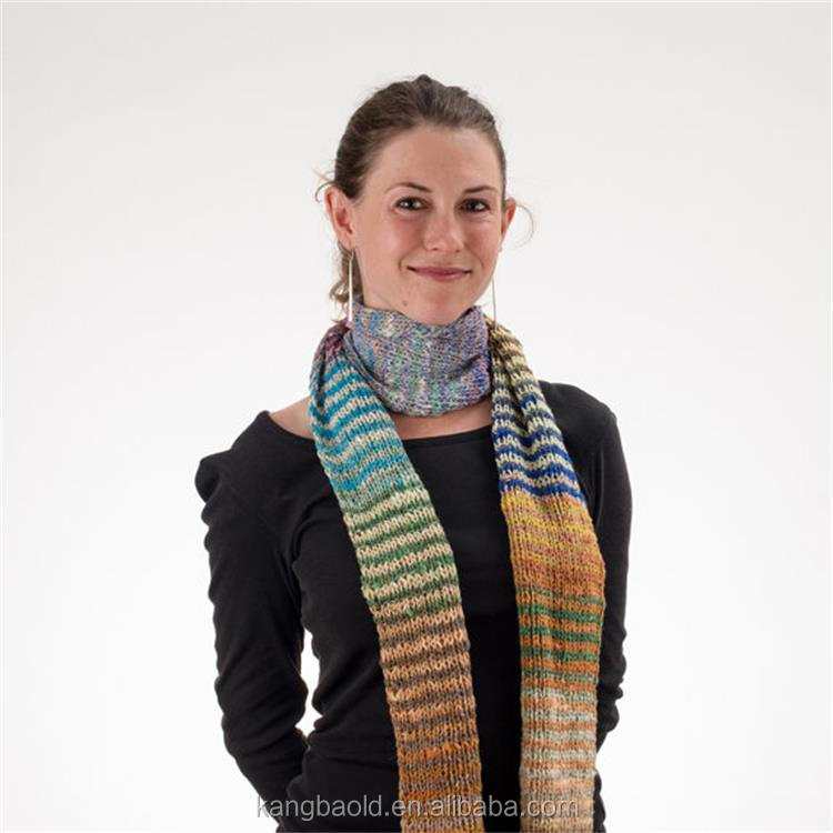 Girl's Long Knit Multicolored Stripes Rainbow Scarf made from Cotton, Silk, Wool