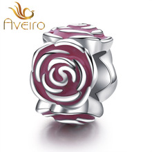 Wholesale Pink Enamel paved 925 Sterling Silver Flower Charms Beads For Bracelet Making For Gift