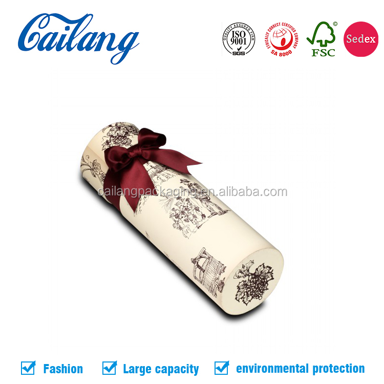 Alibaba understated luxury kraft round paper tube wine packaging box with decorative ribbon bow
