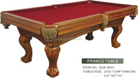 fashion solid wood and slate material red color competitive model snooker pool table price