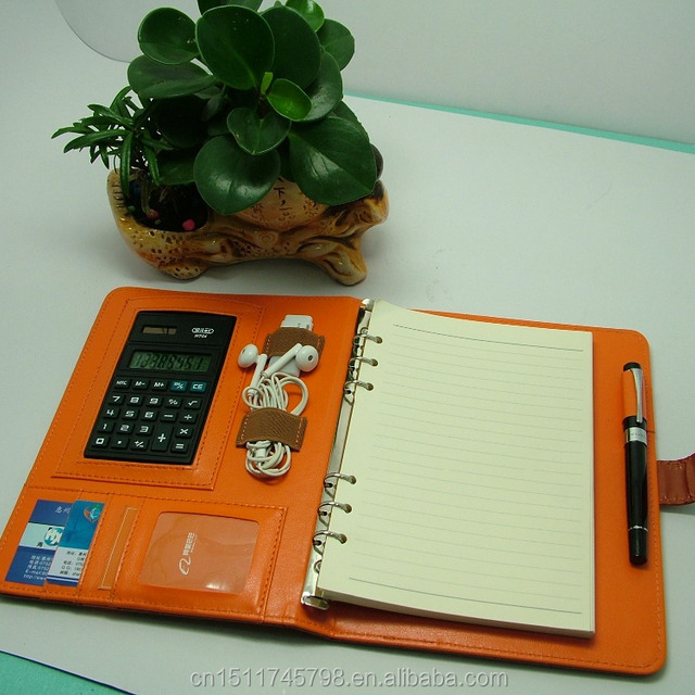 a5 leather cover ring binder executive notebook with calculator and card pockets