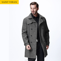 Custom design mens high-end design long lapel neck coat